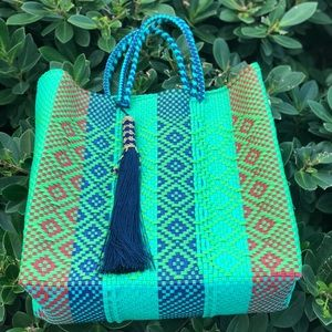 Handbags - Recycled plastic retro colors beach bag